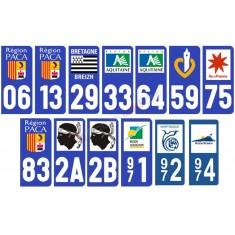 Autocollants stickers plaque départements régions (vendus par 2)