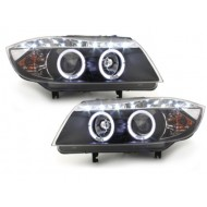 Blocs optiques DRL Look LED pour BMW SERIE 3 E90 05+_2 Angel Eyes_drl optic_black