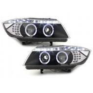Blocs optiques DRL Look LED pour BMW SERIE 3 E90 05+_2 Angel Eyes_drl optic_LED_black