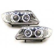 Blocs optiques DRL Look LED pour BMW SERIE 3 E90 05+_2 Angel Eyes_drl optic_LED_chrome